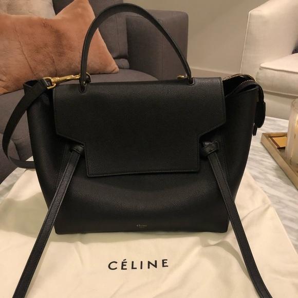 3a60427c73 Celine Handbags - Celine Mini Belt Bag In Grained Calfskin - Black